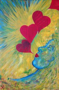 De hartendame op het schilderij ademt liefde. Sprankelend laat ze zien dat je hart volgen leidt naar het voor jou bestemde pad.